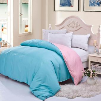 GoGoLife Cotton Two-tone Home Quilt Cover Single/Full/Queen/Kingsize-18# Blue and Pink