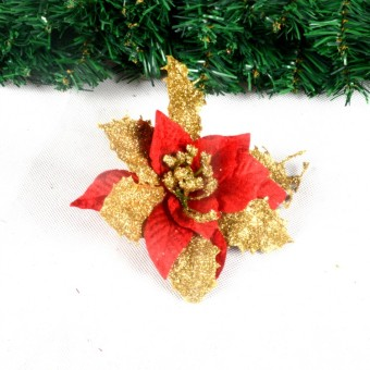 Gold bronze powder holiday dress up Christmas flower Christmas tree
