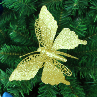 Gold Christmas decoration Christmas tree large Butterfly