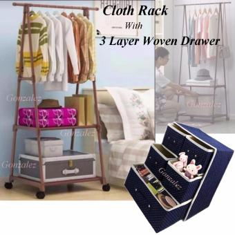 Gonzalez Multipurpose Durable Cloth Rack (Brown) with 3 LayerFoldable Woven Clothing Storage Box (Dotted Blue)