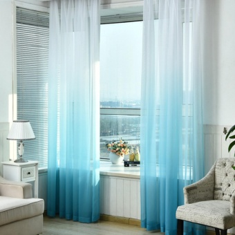Gradient White Window Curtains Home Decor Tulle Curtains For LivingRoom Bedroom Kitchen Sheer Voile Drape - intl