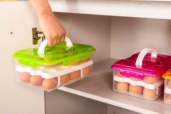 Green color 24 Grid Bilayer Egg Storage Box Food Container Keep Eggs Fresh Organizer Kitchen Supplies