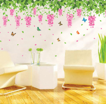 Green Leaves bedroom ceiling Wisteria flower open Wall sticker wall stickers