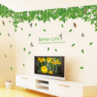 Green Leaves fresh living room TV sofa background wall stickers
