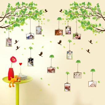 Green Leaves memory branch birdcage wall appliqués frame photo wall Home Décor Wall Stickers Decals