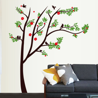 Green Tree bird red living room bedroom Bizhi wall stickers