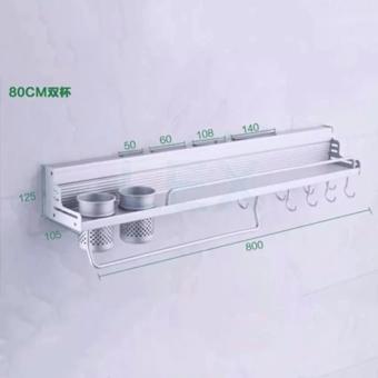 GX Space Aluminum Kitchen Shelf wall hanging rack storage cutterpendant supplies seasoning rack - intl - 3
