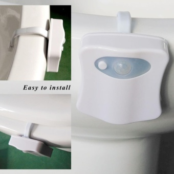 HANBINGXUAN Colorful LED Night Light Motion Sensor Automatic ToiletHanging Light Bowl with Color Setting Battery - intl - 5
