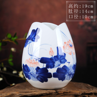 Hand-painted blue and white porcelain vase flower arrangement vase