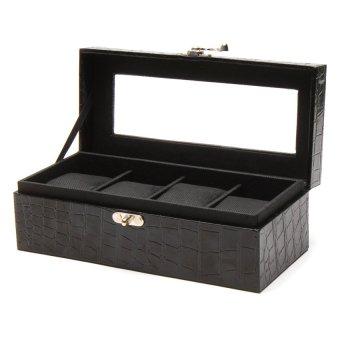 Handicraft 4-Compartment Watchbox (Croco Black) - picture 2