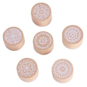 Hang-Qiao 6Pcs Retro Floral Pattern Round Wooden Rubber Stamps Seals