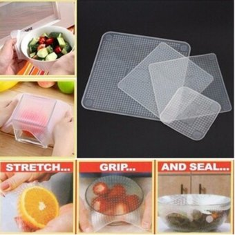 Hanyu 4Pcs Kitchen Multifunctional Silicone Fresh Bowl SealableCover Fresh Food Storage Seal Cover(White) - intl