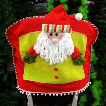 Hanyu Holiday Santa Christmas Chair Back Cover Hat Dinner Decoration Red - Intl