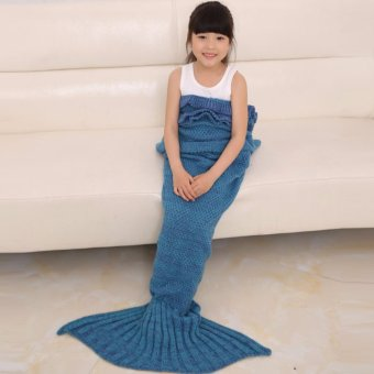 Hanyu Mermaid Tail Blanket Crochet Mermaid Blanket for Baby Infant Kids Sofa Quilt Living Room Bedroom Camping Warm Soft All Seasons Seatail Sleeping Bag Blanket Sleeping Throws 90 * 50cm (Dark blue) - intl