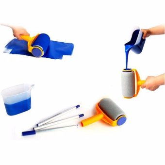 Hanyu Multi-function Handle Paint Roller Set Painting Brush Point NPaint Household Decorative Tool(White+Orange) - intl Price Philippines