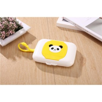 Hanyu Panda Style Convenient Portable Wet Wipes Box Carriage PramOutdoor Use Tissue Box For Baby(Yellow) - intl