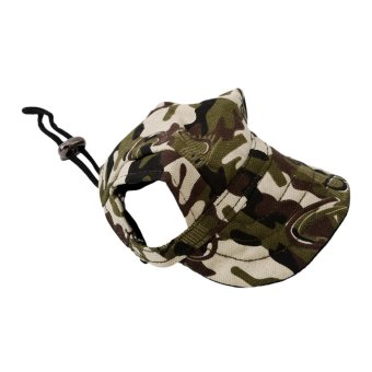 Hanyu Pet Baseball Cap Pet Dog Canvas Hat with Ear Holes OutdoorHat Accessories M(Camouflage) - intl