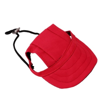 Hanyu Pet Baseball Cap Pet Dog Canvas Hat with Ear Holes OutdoorHat Accessories S(Red) - intl