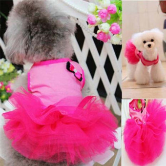 Hanyu Pet Dogs Puppy Butterfly Corsage Puff Tutu Dresses Costumesfor Pets Dogs S Rose Red - intl - 5