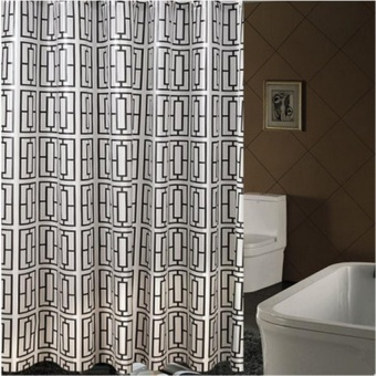 HAOFEI Hotel High-Grade Back Type Pattern Shower Curtain ClothBathroomoff The Block Curtain Bathroom Waterproof Curtain WarmCurtain Pullcurtain - intl Price Philippines