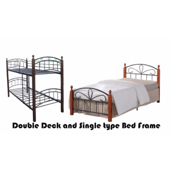 Hapihomes Android Double Deck Bed with Paris (Single)36'x75' Bed Frame Black/Brown