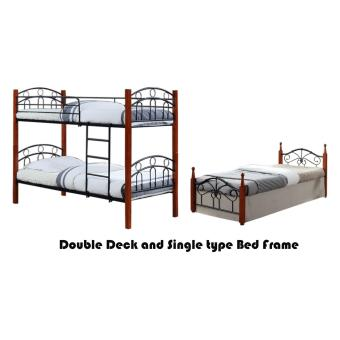 Hapihomes Asteroid Double Deck Bed with Miaka (Single)36'x75' BedFrame Black/Brown Price Philippines