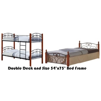 Hapihomes Asteroid Double Deck Bed with Thani (Double) 54'x75' BedFrame Black/Brown Price Philippines