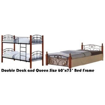 Hapihomes Asteroid Double Deck Bed with Thani (Queen) 60'x75' BedFrame Black/Brown Price Philippines