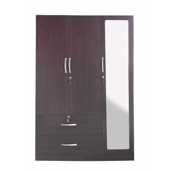 Hapihomes Gabs 3-door Wardrobe with Full Lenght Mirror (Wenge)