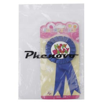 Happy Birthday Award Ribbon Badge Party Favor Dark Blue - picture 2