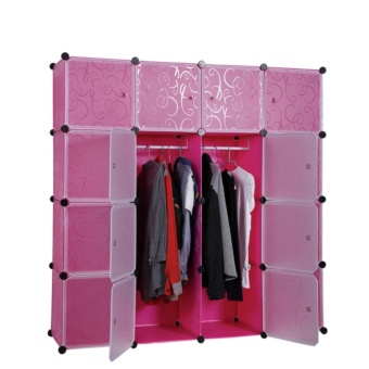 Happy Choise 16 Layer DIY Multi-function Hanging Clothes CabinetCombined Type Brief Wardrobe Design (Pink)