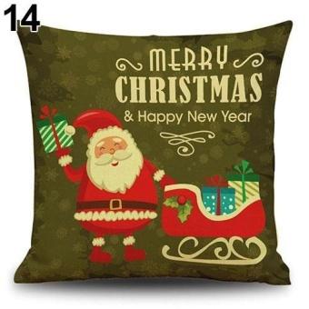HappyLife Snowman Elk Tree Wreath Christmas Pillow Case Xmas Homedecor Linen Cushion Cover 14 - intl