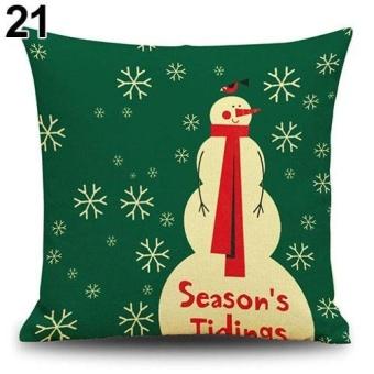HappyLife Snowman Elk Tree Wreath Christmas Pillow Case Xmas Homedecor Linen Cushion Cover 21 - intl