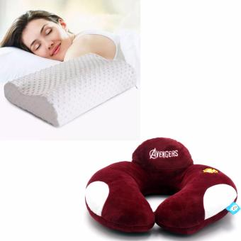 Health Care Sleep Slow Rebound Memory Foam Pillow Cervical (White) With Avengers U Shaped Travel Pillow Neck Support Head (Maroon)