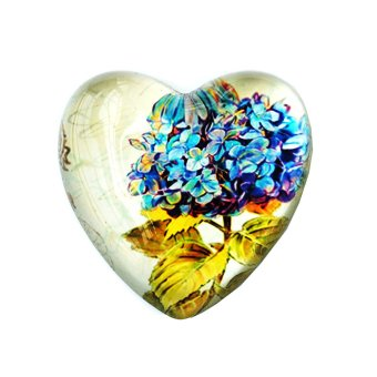 Heart Shaped White Paperweight with Blue Flower Design Price Philippines