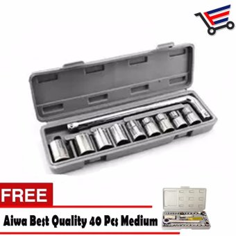 Heavy Duty 10 Pieces Socket Wrench Set with FREE Aiwa Best Quality40 Pcs Medium Auto Repair Hand Tool Combination Socket Wrench Set