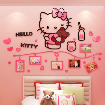 Hello Kitty adhesive paper girl's bedroom children's room wall stickers photo wall