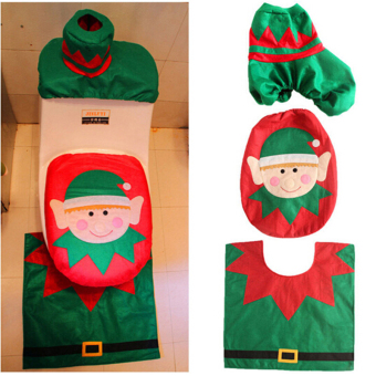 HengSong Christmas Santa Toilet Seat Cover and Rug Toilet setsMulticolor - Intl