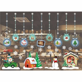 HengSong Christmas Window Stickers Wall Sticker Christmas SantaClaus Glass Windows Transparent Film Wall Stickers Shop Home DecalDecor #802 - intl