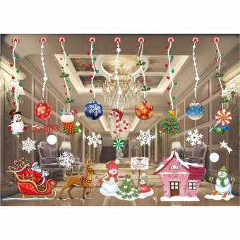 HengSong Christmas Window Stickers Wall Sticker Christmas SantaClaus Glass Windows Transparent Film Wall Stickers Shop Home DecalDecor #803 - intl