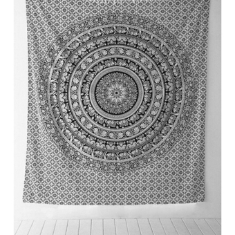 HengSong Elephant Indian Mandala Tapestry Fringed Wall HangingBohemian Bedspread Decor Shawl Beach Towel Black and White