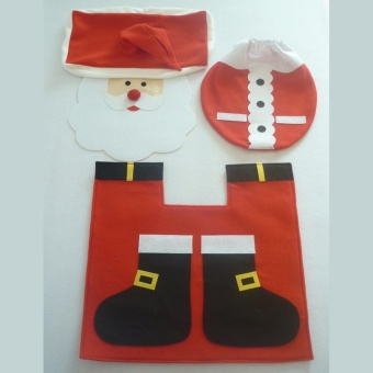 HengSong Santa Claus toilet seat cover of old public toilet seatwith toilet cover with water tank cap + towel cover - intl - 2