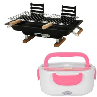 Hibachi Steel Charcoal BBQ Grill (Black) With Heat PreservationElectric Lunch Box (Pink) Price Philippines