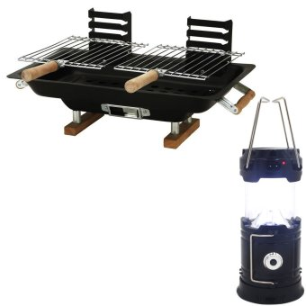 Hibachi Steel Charcoal BBQ Grill (Black) With Rechargeable SH-5800TSolar Camping Lantern Emergency LED Light Built-in Mobile Charger(Black) Price Philippines