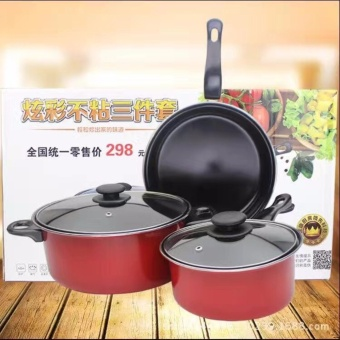 High Efficiency Quality 5pcs Cookware Frying Pot and Pan Set(RedOrange) with Heat Resistance Plastic Ladle 6-piece set (Black)