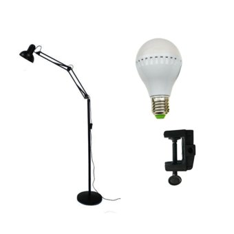 High Quality Adjustable Long Standing Floor Lamp (Black) With7-Watt LED Bulb and Desk Light Clip