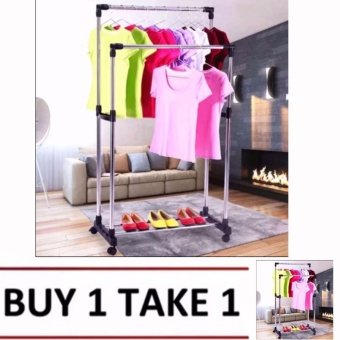 High Quality DIY Double Pole Stainless Steel Clothes Rack Buy1 Take1