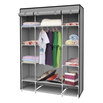 High Quality Multifunctional Dustproof High Capacity Wardrobe Storage Cabinet (Gray)