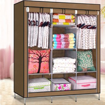 High Quality Multifunctional Wardrobe Storage Cabinet Dust CoverWaterproof (Brown)