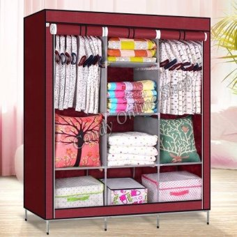 High Quality Multifunctional Wardrobe Storage Cabinet (Maroon)